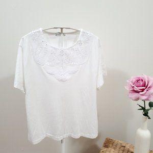 ZARA Basic White Embroidery T-shirt